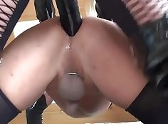 business guy with a monster black boner is getting fucked and many strapon