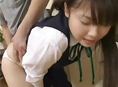 Japanese schoolgirl fucking with her schoolboy friend