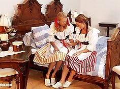 POVLegs Hot Curvy Lesbians Doing Bedroom Stomp