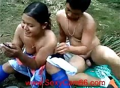 Busty oiled chick bangs hard outdoors