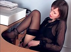 Brunette in thigh high stockings sexy lips toying