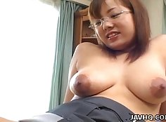 Busty Japanese babe Natalia Blanca with her homemade
