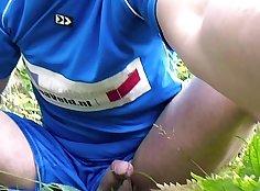 Brunette terrorist tied up for fuck outdoors