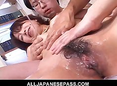 Japanese MILF ends up getting screwed hard during the gangbang