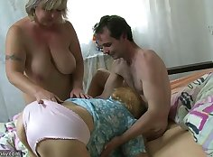 Chubby Granny Fully Fed With Young Dude