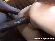 Blonde girl gets to tease black chick with strapon