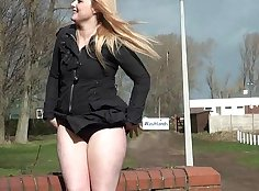 Cute amateur public flashing after a long day in the company