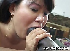Black assed asian is getting her pussy hammered hard