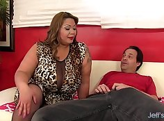 BBW with big boobs suck and ride a stiff cock