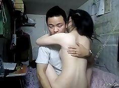 chinese slut rubs her wet pussy and get fucked hard