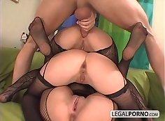 Classy eurobabe masturbing in ripped stockings