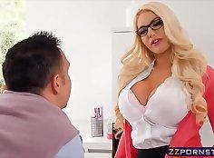Huge tits blonde fucked on sofa