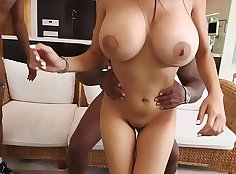 black Bitch with flabby busty side and giant boobs is wearing a sexy fishnet girdle