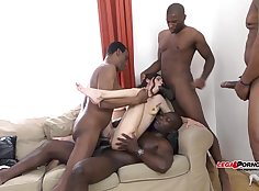 Black Ghetto Cock Pounding Interracial GangBang