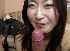 Buxom Japanese model Rina Hayama gives head and pov blowjob