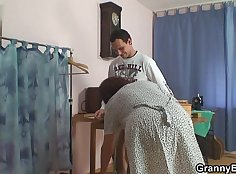 Filthy granny toyed by huge cock